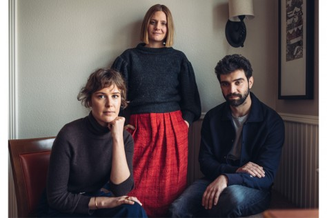 Carla Juri (L), Romola Garai (C), and Alec Secareanu (R), the director and stars of Amulet.