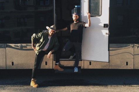 Chris Stracey and Jack Glass on the road in North America.