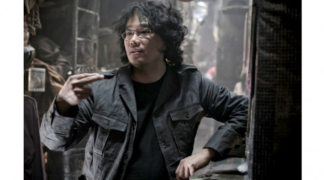 Bong Joon-Ho on the set of Snowpiercer.