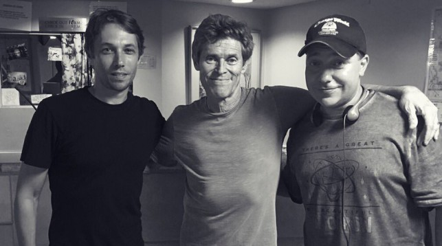 Sean Baker, Willem Dafoe, and Chris Bergoch on the set of The Florida Project.