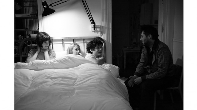 Christophe Honoré on the set of Love Songs with Chiara Mastroianni, Ludivine Sagnier, and Louis Garrel.