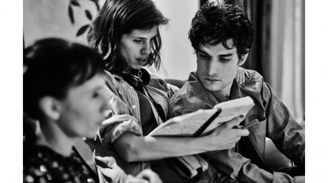 Louis Garrel on the set of My King with director Maïwenn.