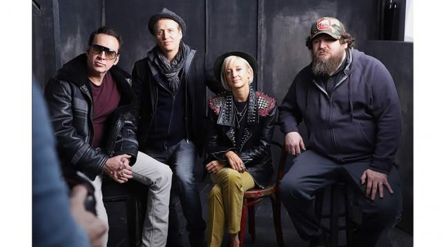 Nicholas Cage, Linus Roache, Andrea Riseborough, and Panos Cosmatos. © John Parra.