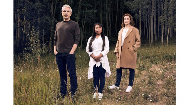 Alfonso Cuarón (left), Yalitza Aparicio (center), and Marina de Tavira (right).