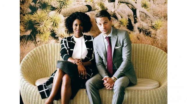 Emayatzy Corinealdi and Logan Marshall-Green at the Standard hotel in Los Angeles.